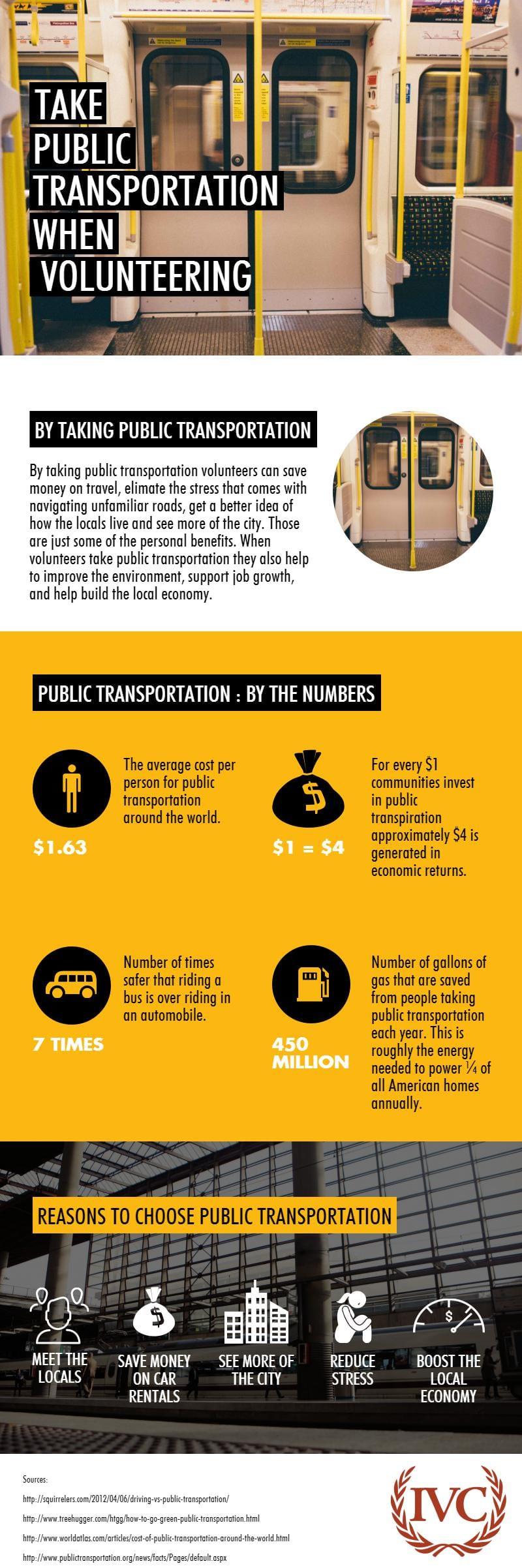 public transportation when volunteering